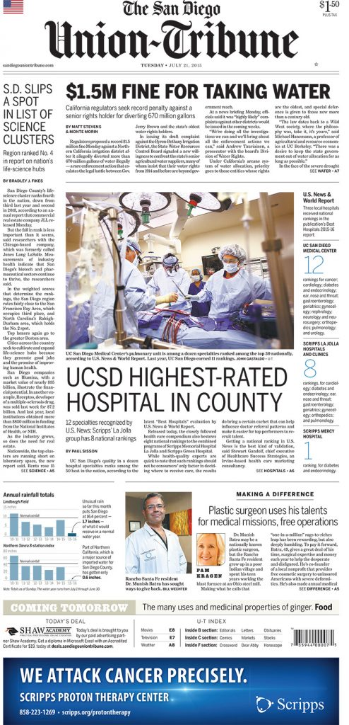 Dr. Munish Batra article on The Union Tribune. Making a Difference: Plastic surgeon uses his talents for medical missions, free operations.