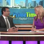 Dr. Batra discussing his charitable missions with Taylor Baldwin from U-T TV